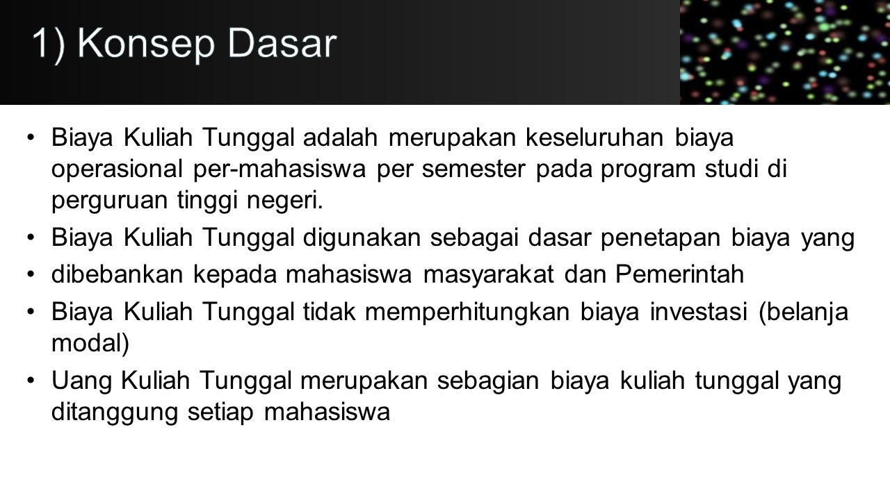 •Biaya Kuliah Tunggal adalah merupakan keseluruhan biaya operasional per-mahasiswa per semester pada program studi di perguruan tinggi negeri. •Biaya