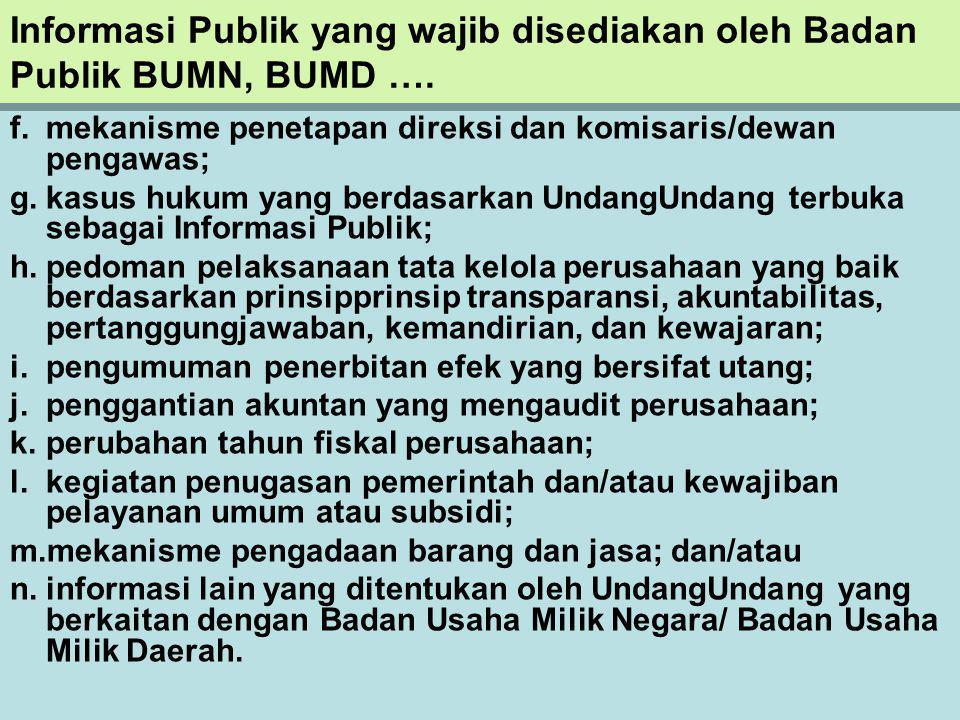 Informasi Publik yang wajib disediakan oleh Badan Publik BUMN, BUMD ….