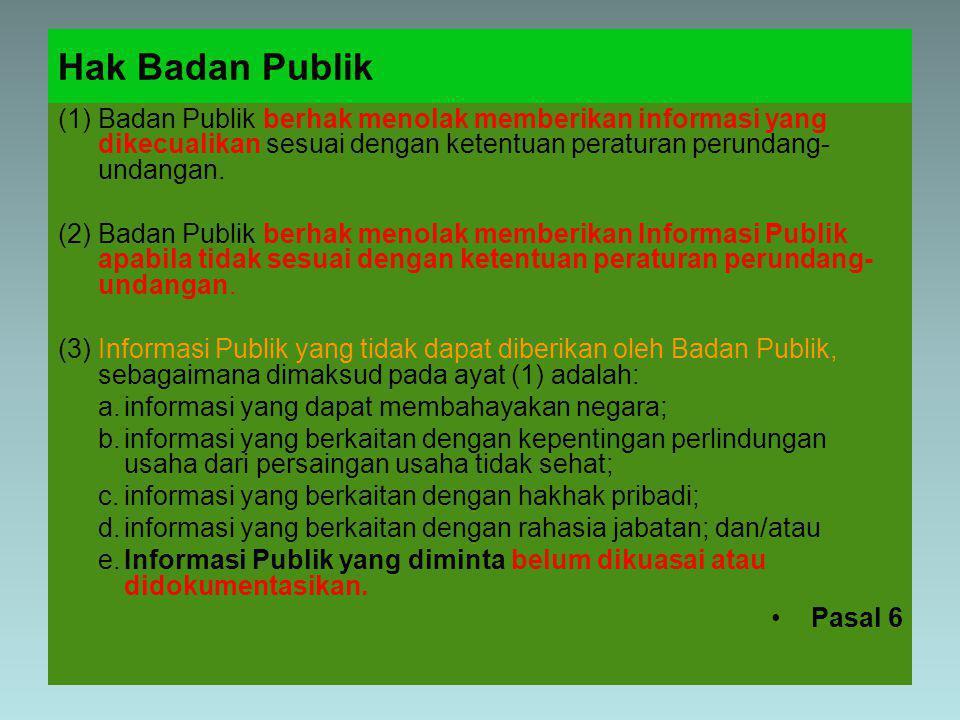 Hak Badan Publik (1)Badan Publik berhak menolak memberikan informasi yang dikecualikan sesuai dengan ketentuan peraturan perundang undangan.