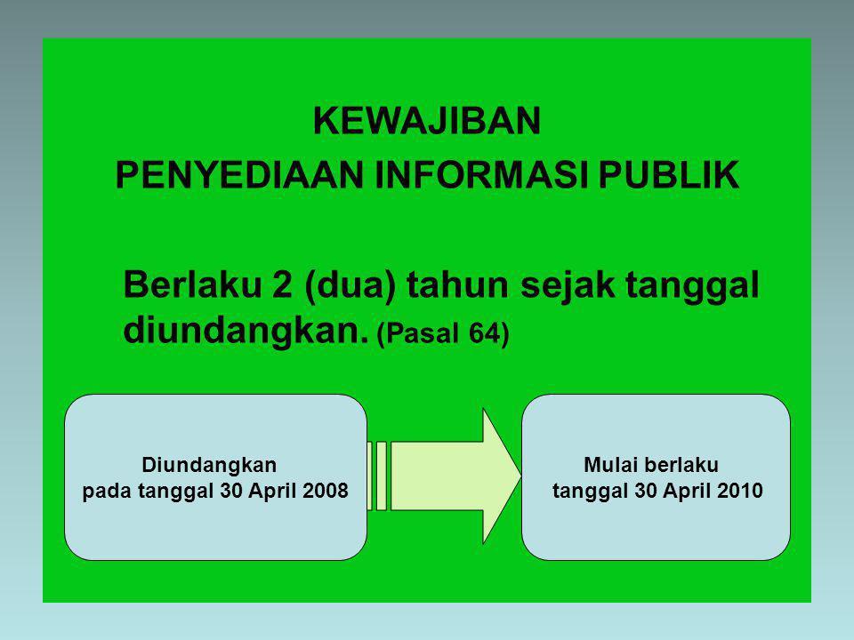 KEWAJIBAN PENYEDIAAN INFORMASI PUBLIK Berlaku 2 (dua) tahun sejak tanggal diundangkan.