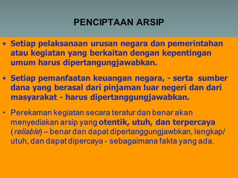 PENCIPTAAN ARSIP •Setiap pelaksanaan urusan negara dan pemerintahan atau kegiatan yang berkaitan dengan kepentingan umum harus dipertangungjawabkan.