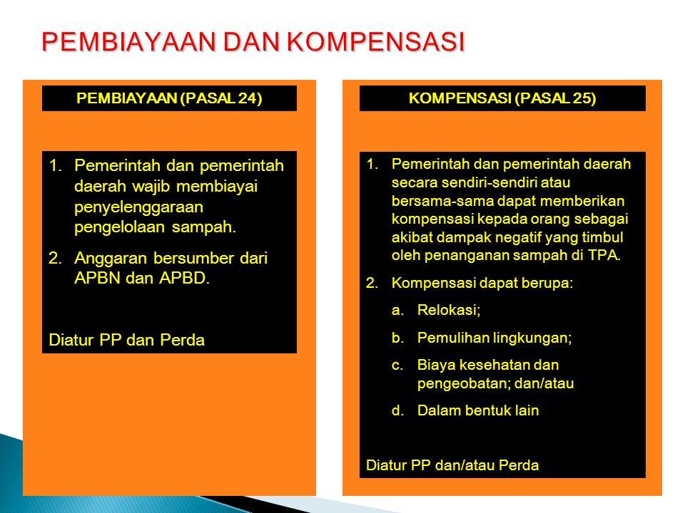 KOMPENSASI (PASAL 25) 1.Pemerintah dan pemerintah daerah secara sendiri-sendiri atau bersama-sama dapat memberikan kompensasi kepada orang sebagai akibat dampak negatif yang timbul oleh penanganan sampah di TPA.