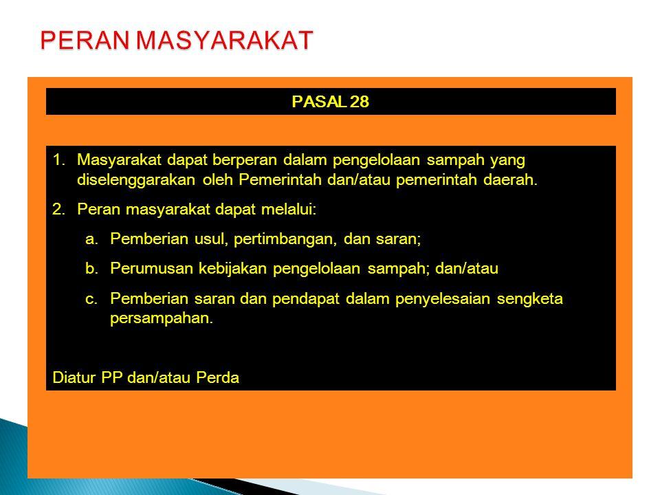 PASAL 28 1.Masyarakat dapat berperan dalam pengelolaan sampah yang diselenggarakan oleh Pemerintah dan/atau pemerintah daerah.