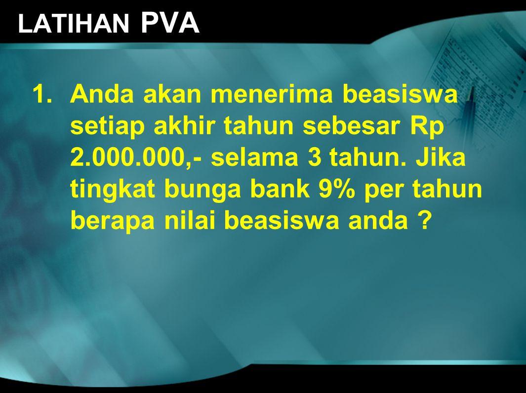 LATIHAN PVA 1.Anda akan menerima beasiswa setiap akhir tahun sebesar Rp 2.000.000,- selama 3 tahun. Jika tingkat bunga bank 9% per tahun berapa nilai