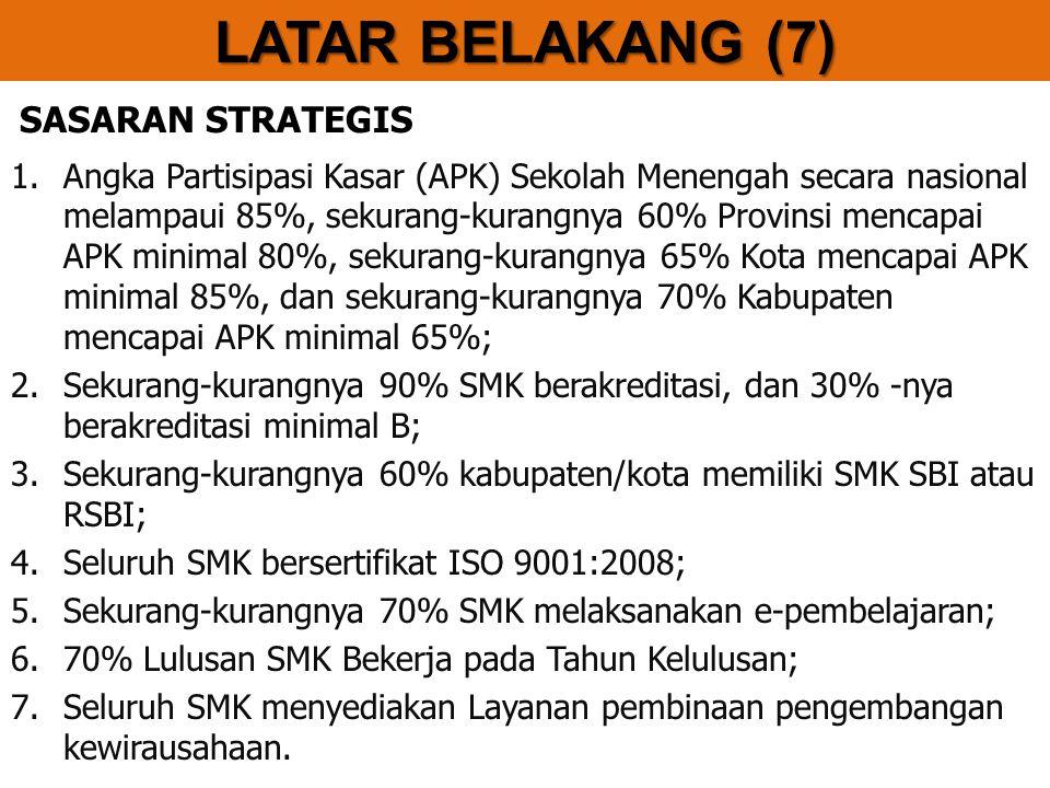 SASARAN STRATEGIS 1.Angka Partisipasi Kasar (APK) Sekolah Menengah secara nasional melampaui 85%, sekurang-kurangnya 60% Provinsi mencapai APK minimal 80%, sekurang-kurangnya 65% Kota mencapai APK minimal 85%, dan sekurang-kurangnya 70% Kabupaten mencapai APK minimal 65%; 2.Sekurang-kurangnya 90% SMK berakreditasi, dan 30% -nya berakreditasi minimal B; 3.Sekurang-kurangnya 60% kabupaten/kota memiliki SMK SBI atau RSBI; 4.Seluruh SMK bersertifikat ISO 9001:2008; 5.Sekurang-kurangnya 70% SMK melaksanakan e-pembelajaran; 6.70% Lulusan SMK Bekerja pada Tahun Kelulusan; 7.Seluruh SMK menyediakan Layanan pembinaan pengembangan kewirausahaan.