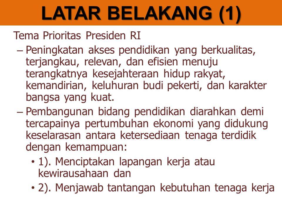 Renstra Kementerian Pendidikan Nasional Tahun 2010 – 2014 (Nomor 2 tahun 2010, Tanggal 27 Januari 2010) Visi: Visi kemendiknas 2014: Terselenggaranya Layanan Prima Pendidikan Nasional untuk Membentuk Insan Indonesia Cerdas Komprehensif LATAR BELAKANG (2)