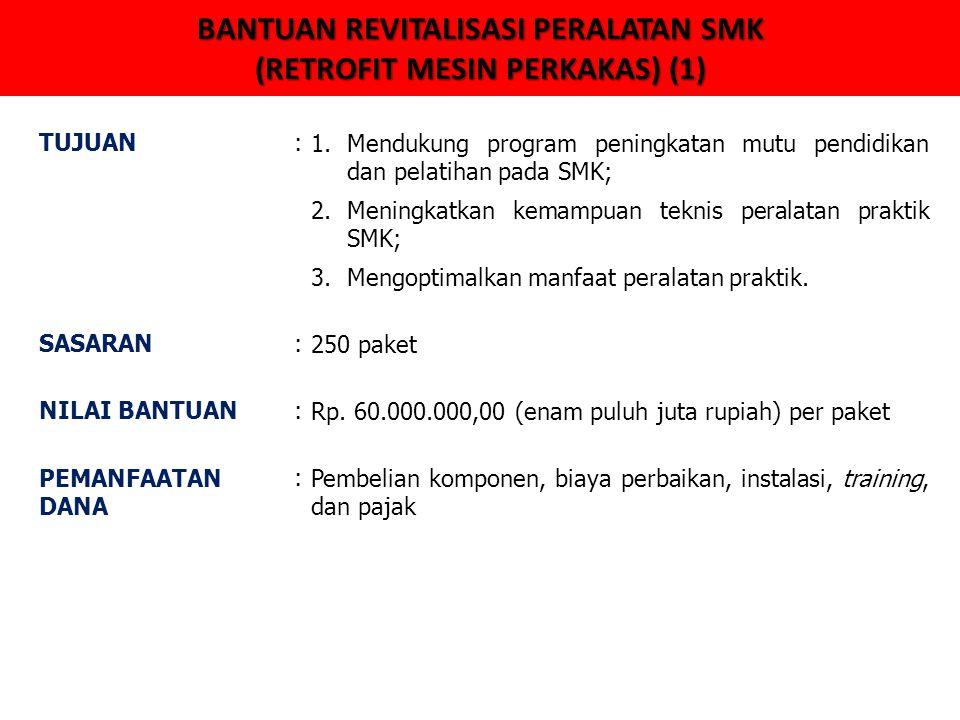 BANTUAN REVITALISASI PERALATAN SMK (RETROFIT MESIN PERKAKAS) (1) TUJUAN:1.Mendukung program peningkatan mutu pendidikan dan pelatihan pada SMK; 2.Meni