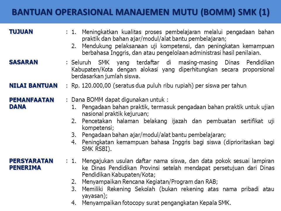 BANTUAN OPERASIONAL MANAJEMEN MUTU (BOMM) SMK (1) TUJUAN:1.Meningkatkan kualitas proses pembelajaran melalui pengadaan bahan praktik dan bahan ajar/mo