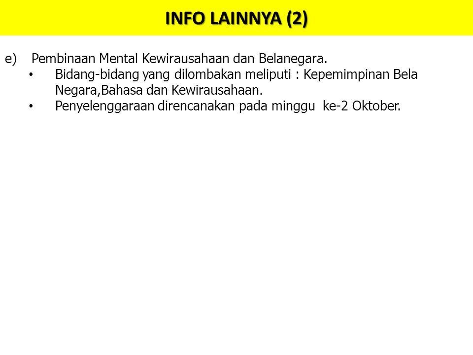 INFO LAINNYA (2) e)Pembinaan Mental Kewirausahaan dan Belanegara.