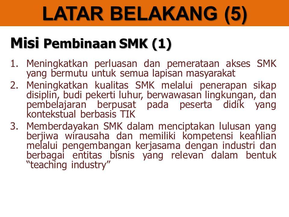Misi Pembinaan SMK (1) 1.Meningkatkan perluasan dan pemerataan akses SMK yang bermutu untuk semua lapisan masyarakat 2.Meningkatkan kualitas SMK melalui penerapan sikap disiplin, budi pekerti luhur, berwawasan lingkungan, dan pembelajaran berpusat pada peserta didik yang kontekstual berbasis TIK 3.Memberdayakan SMK dalam menciptakan lulusan yang berjiwa wirausaha dan memiliki kompetensi keahlian melalui pengembangan kerjasama dengan industri dan berbagai entitas bisnis yang relevan dalam bentuk teaching industry LATAR BELAKANG (5)