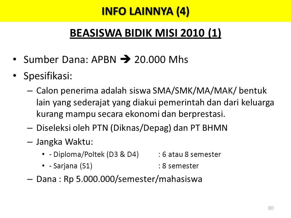 BEASISWA BIDIK MISI 2010 (1) • Sumber Dana: APBN  20.000 Mhs • Spesifikasi: – Calon penerima adalah siswa SMA/SMK/MA/MAK/ bentuk lain yang sederajat