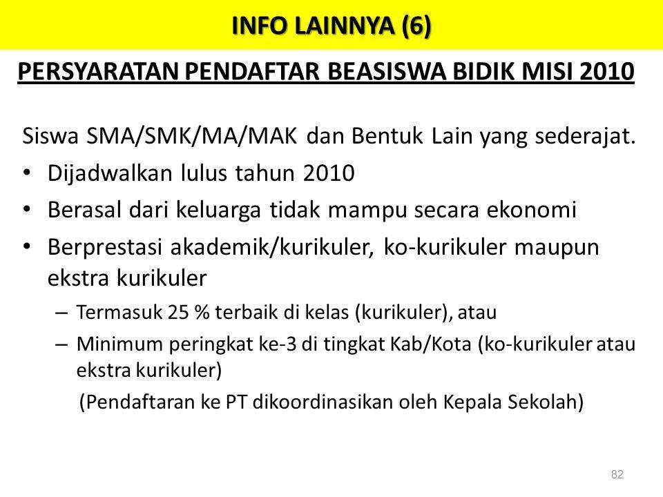 PERSYARATAN PENDAFTAR BEASISWA BIDIK MISI 2010 Siswa SMA/SMK/MA/MAK dan Bentuk Lain yang sederajat. • Dijadwalkan lulus tahun 2010 • Berasal dari kelu