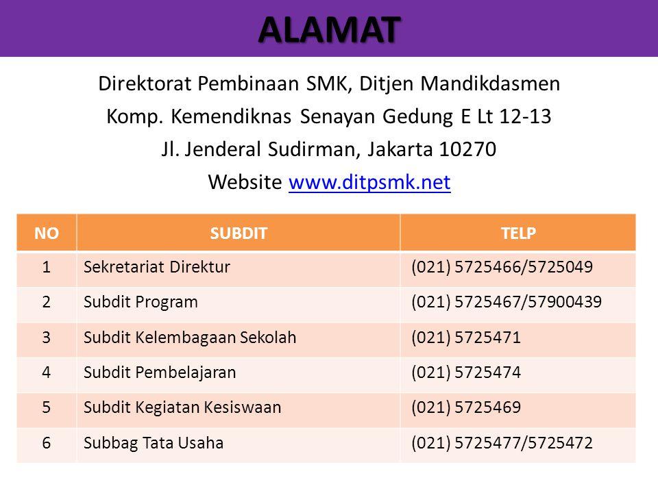 ALAMAT Direktorat Pembinaan SMK, Ditjen Mandikdasmen Komp. Kemendiknas Senayan Gedung E Lt 12-13 Jl. Jenderal Sudirman, Jakarta 10270 Website www.ditp
