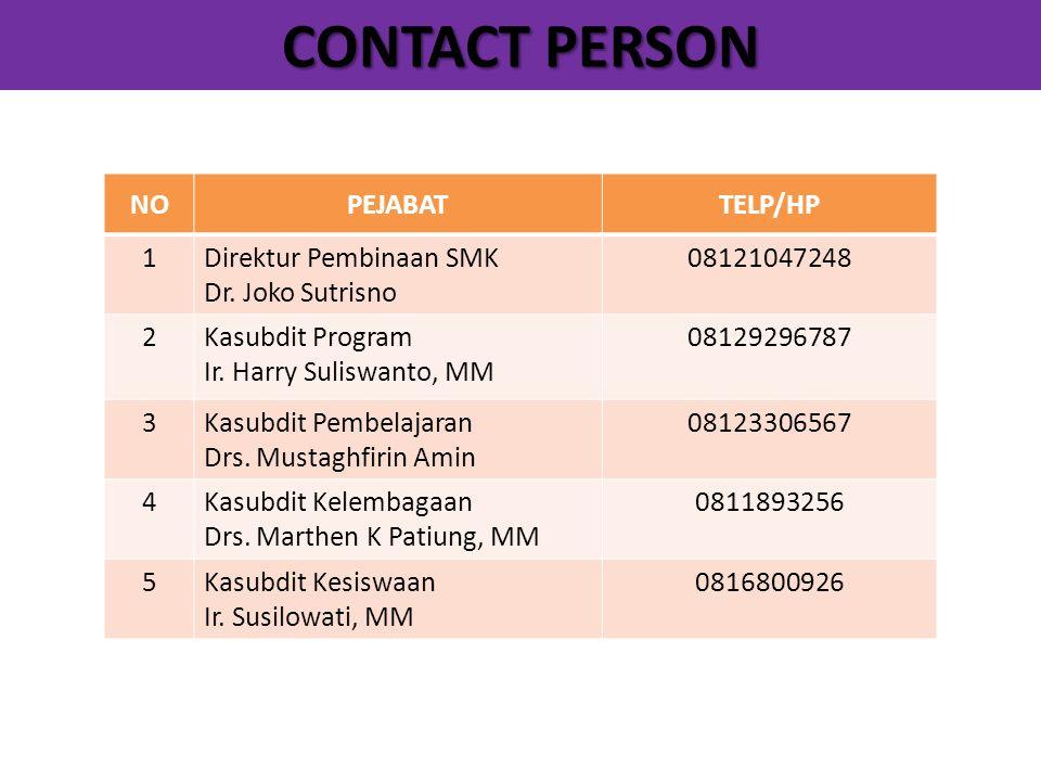 CONTACT PERSON NOPEJABATTELP/HP 1Direktur Pembinaan SMK Dr. Joko Sutrisno 08121047248 2Kasubdit Program Ir. Harry Suliswanto, MM 08129296787 3Kasubdit