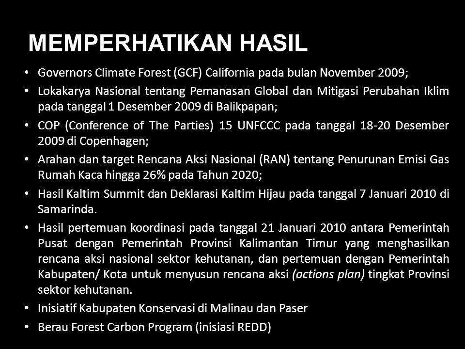 MEMPERHATIKAN HASIL • Governors Climate Forest (GCF) California pada bulan November 2009; • Lokakarya Nasional tentang Pemanasan Global dan Mitigasi P
