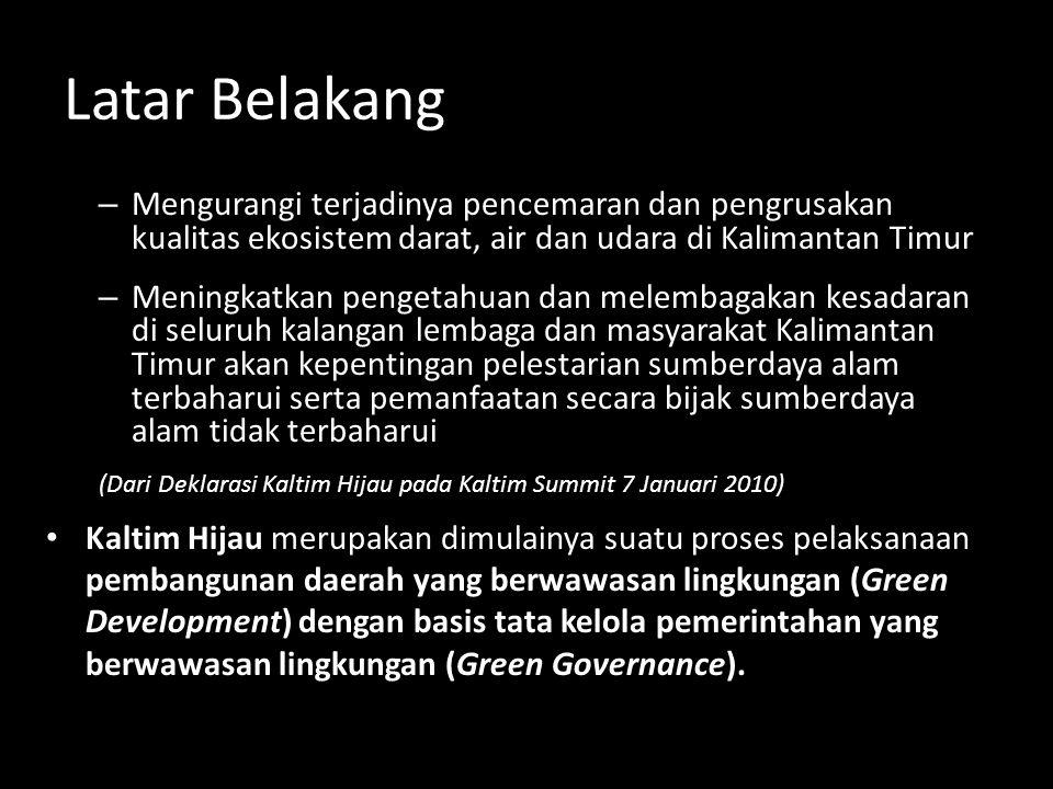Latar Belakang – Mengurangi terjadinya pencemaran dan pengrusakan kualitas ekosistem darat, air dan udara di Kalimantan Timur – Meningkatkan pengetahu