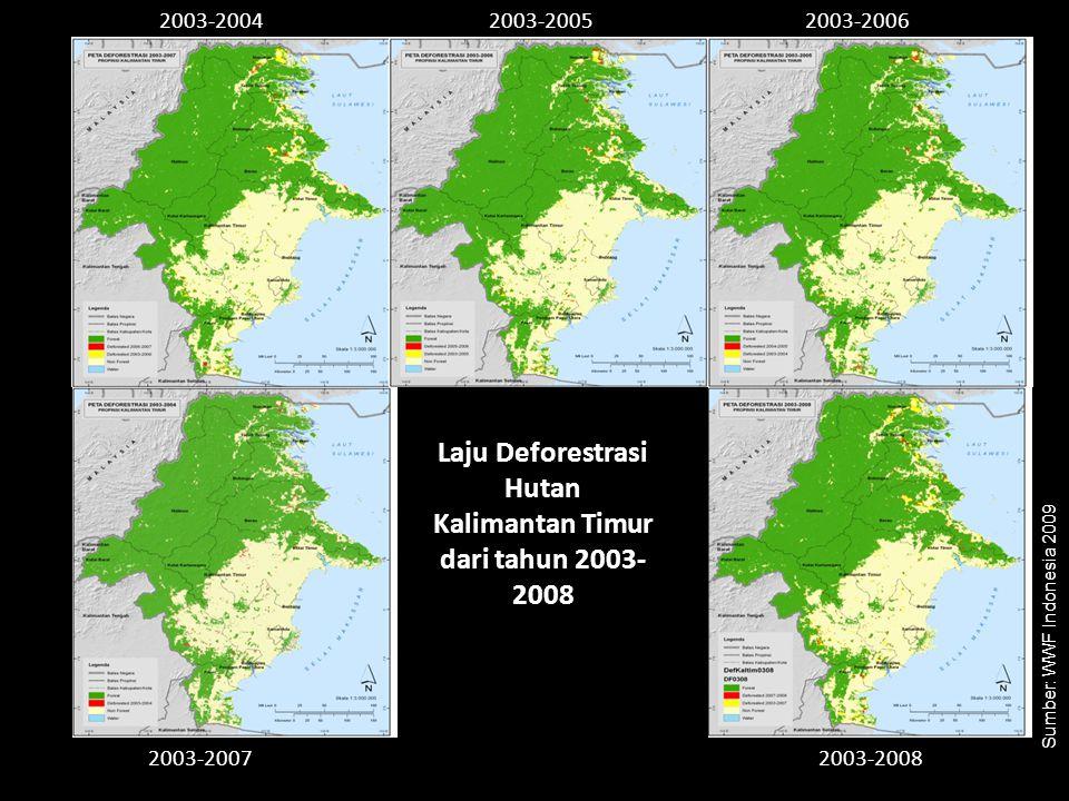 Laju Deforestrasi Hutan Kalimantan Timur dari tahun 2003- 2008 2003-20042003-20052003-2006 2003-20072003-2008 Sumber: WWF Indonesia 2009