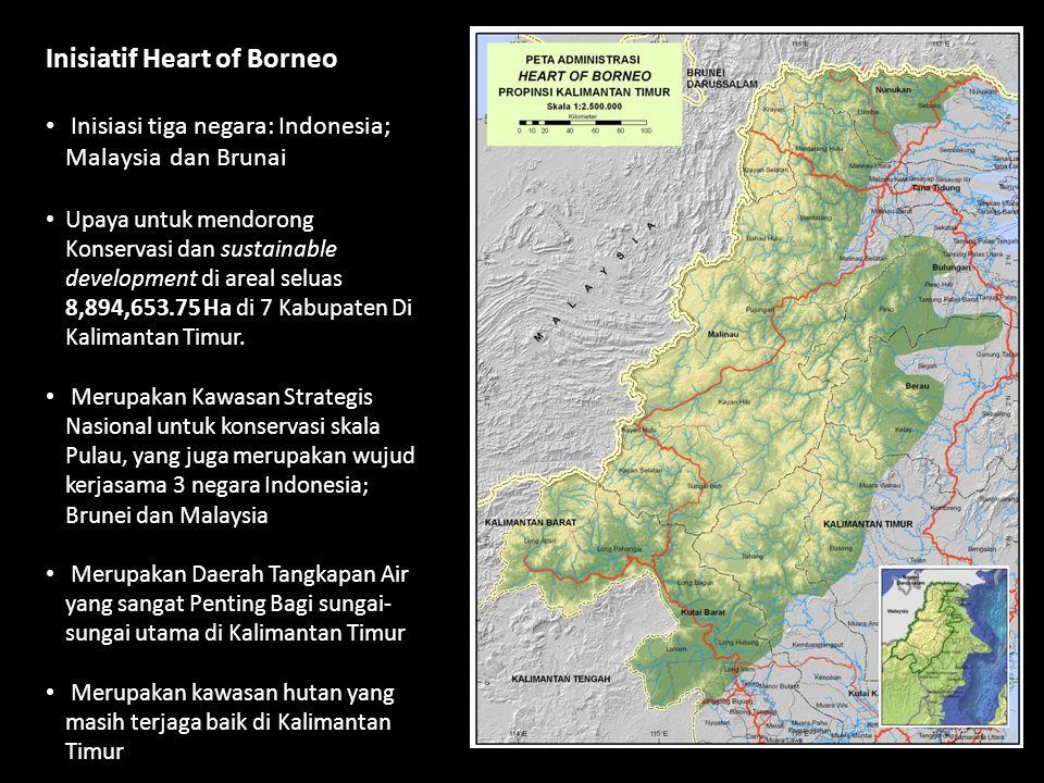 Inisiatif Heart of Borneo • Inisiasi tiga negara: Indonesia; Malaysia dan Brunai • Upaya untuk mendorong Konservasi dan sustainable development di are