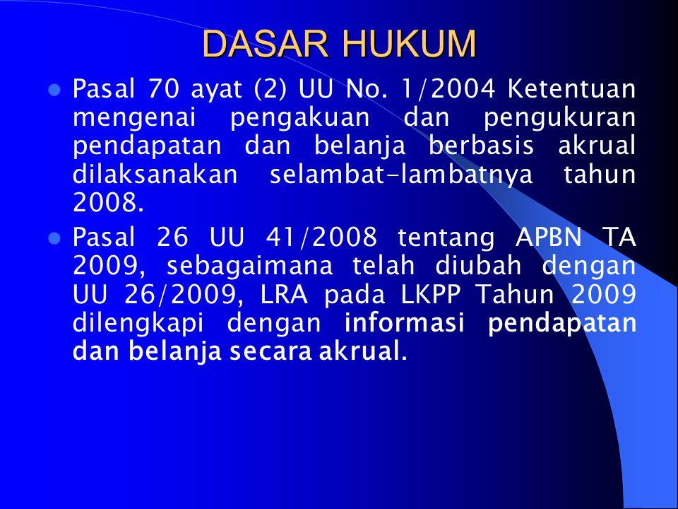 DASAR HUKUM  Pasal 70 ayat (2) UU No. 1/2004 Ketentuan mengenai pengakuan dan pengukuran pendapatan dan belanja berbasis akrual dilaksanakan selambat