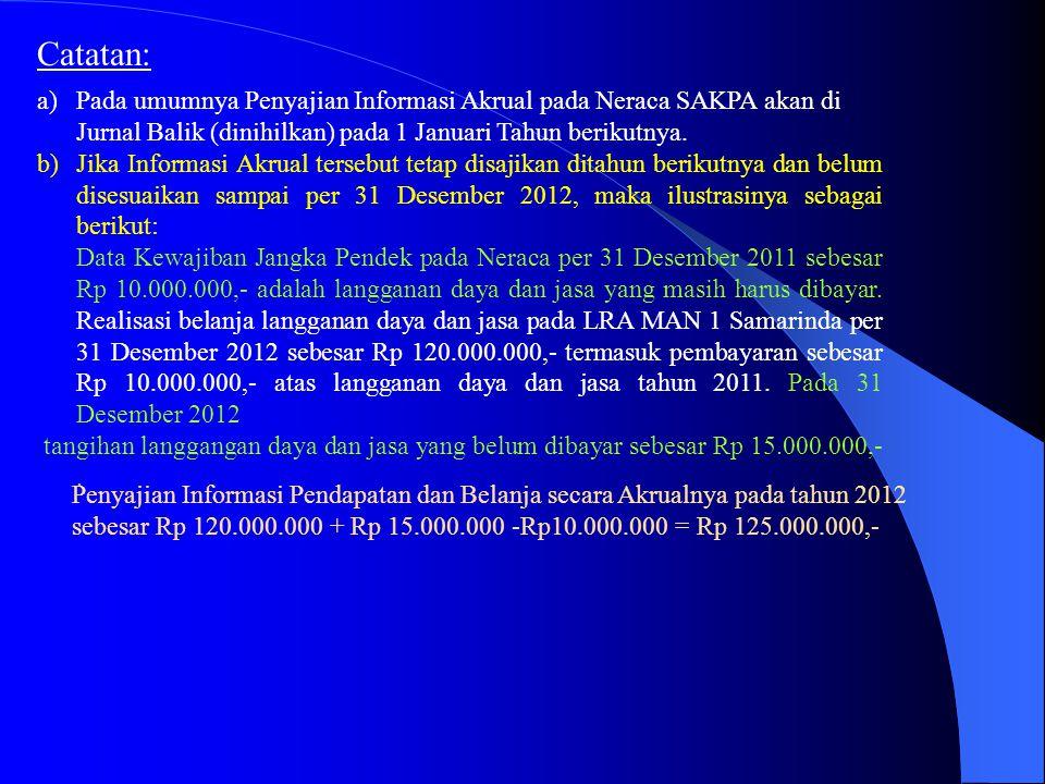 Catatan: a)Pada umumnya Penyajian Informasi Akrual pada Neraca SAKPA akan di Jurnal Balik (dinihilkan) pada 1 Januari Tahun berikutnya. b)Jika Informa