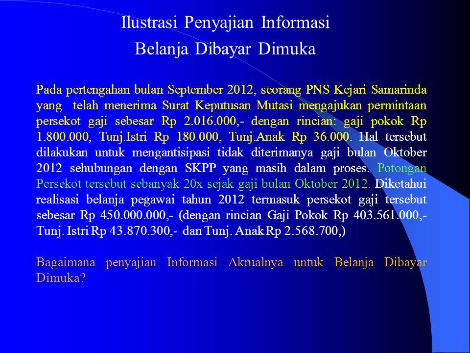 Ilustrasi Penyajian Informasi Belanja Dibayar Dimuka Pada pertengahan bulan September 2012, seorang PNS Kejari Samarinda yang telah menerima Surat Kep
