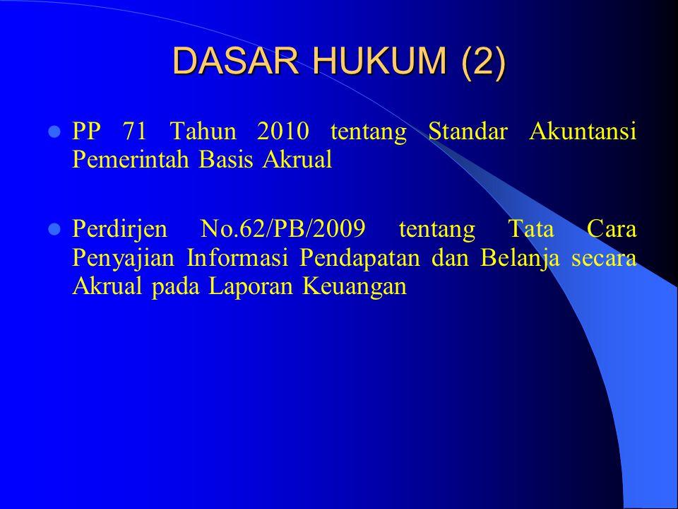 DASAR HUKUM (2)  PP 71 Tahun 2010 tentang Standar Akuntansi Pemerintah Basis Akrual  Perdirjen No.62/PB/2009 tentang Tata Cara Penyajian Informasi P