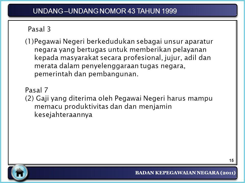 BADAN KEPEGAWAIAN NEGARA (2011) UNDANG –UNDANG NOMOR 43 TAHUN 1999 Pasal 3 (1)Pegawai Negeri berkedudukan sebagai unsur aparatur negara yang bertugas