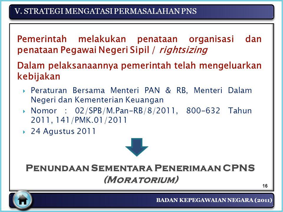 BADAN KEPEGAWAIAN NEGARA (2011) V. STRATEGI MENGATASI PERMASALAHAN PNS 16 Penundaan Sementara Penerimaan CPNS (Moratorium)  Peraturan Bersama Menteri