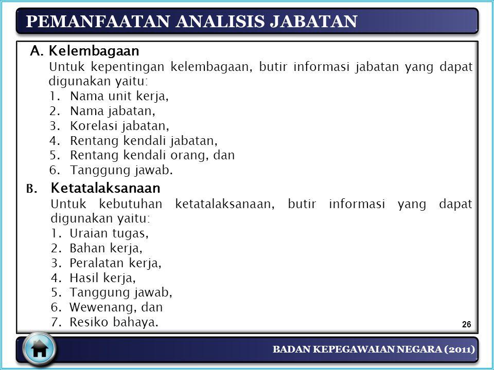BADAN KEPEGAWAIAN NEGARA (2011) PEMANFAATAN ANALISIS JABATAN A.Kelembagaan Untuk kepentingan kelembagaan, butir informasi jabatan yang dapat digunakan
