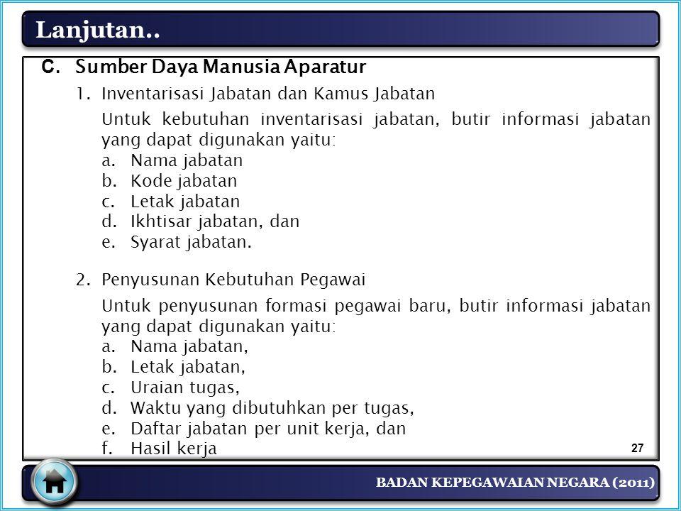 BADAN KEPEGAWAIAN NEGARA (2011) Lanjutan.. C. Sumber Daya Manusia Aparatur 1.Inventarisasi Jabatan dan Kamus Jabatan Untuk kebutuhan inventarisasi jab