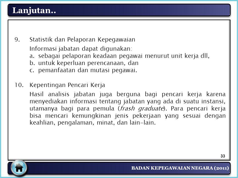 BADAN KEPEGAWAIAN NEGARA (2011) Lanjutan.. 9. Statistik dan Pelaporan Kepegawaian Informasi jabatan dapat digunakan: a.sebagai pelaporan keadaan pegaw
