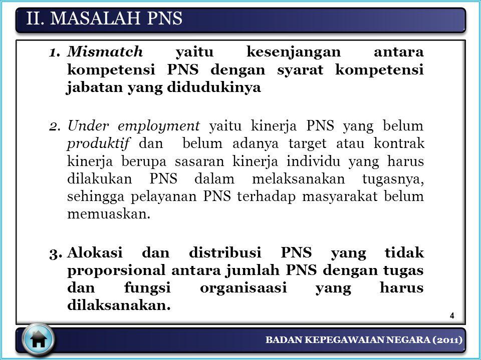 BADAN KEPEGAWAIAN NEGARA (2011) 1.Mismatch yaitu kesenjangan antara kompetensi PNS dengan syarat kompetensi jabatan yang didudukinya 2.Under employmen