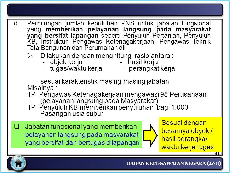 BADAN KEPEGAWAIAN NEGARA (2011) d.Perhitungan jumlah kebutuhan PNS untuk jabatan fungsional yang memberikan pelayanan langsung pada masyarakat yang be