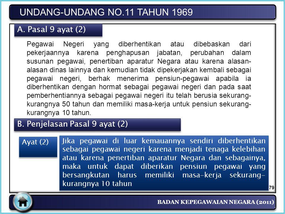BADAN KEPEGAWAIAN NEGARA (2011) UNDANG-UNDANG NO.11 TAHUN 1969 A. Pasal 9 ayat (2) Pegawai Negeri yang diberhentikan atau dibebaskan dari pekerjaannya