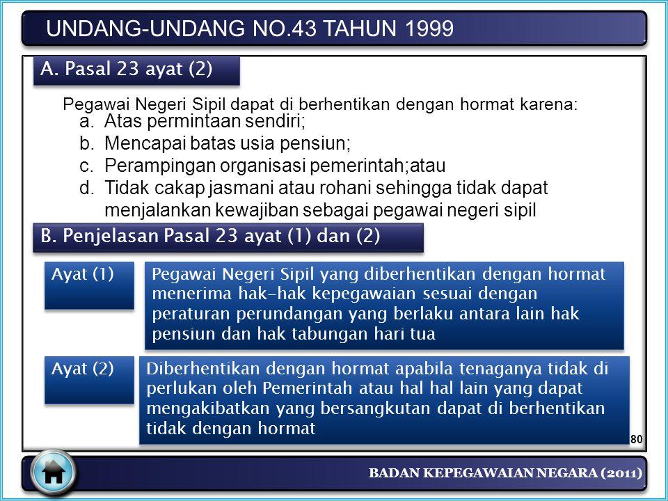 BADAN KEPEGAWAIAN NEGARA (2011) UNDANG-UNDANG NO.43 TAHUN 1999 A. Pasal 23 ayat (2) Pegawai Negeri Sipil dapat di berhentikan dengan hormat karena: a.