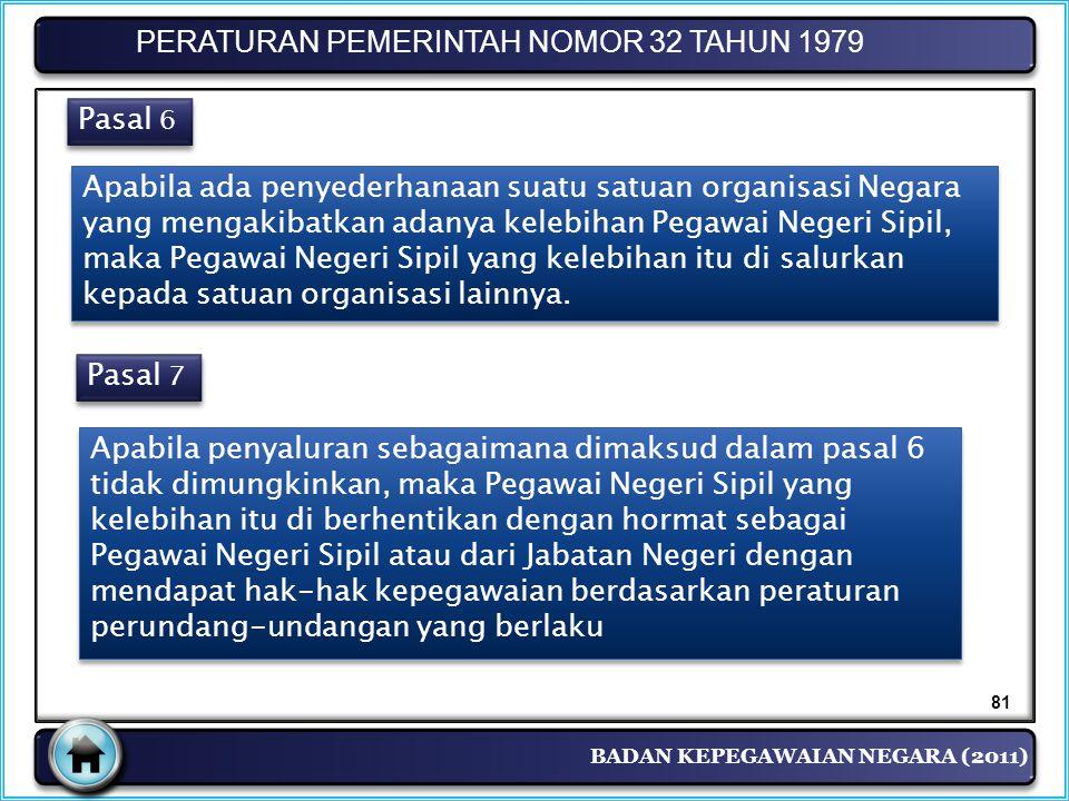 BADAN KEPEGAWAIAN NEGARA (2011) PERATURAN PEMERINTAH NOMOR 32 TAHUN 1979 Pasal 6 Apabila ada penyederhanaan suatu satuan organisasi Negara yang mengak