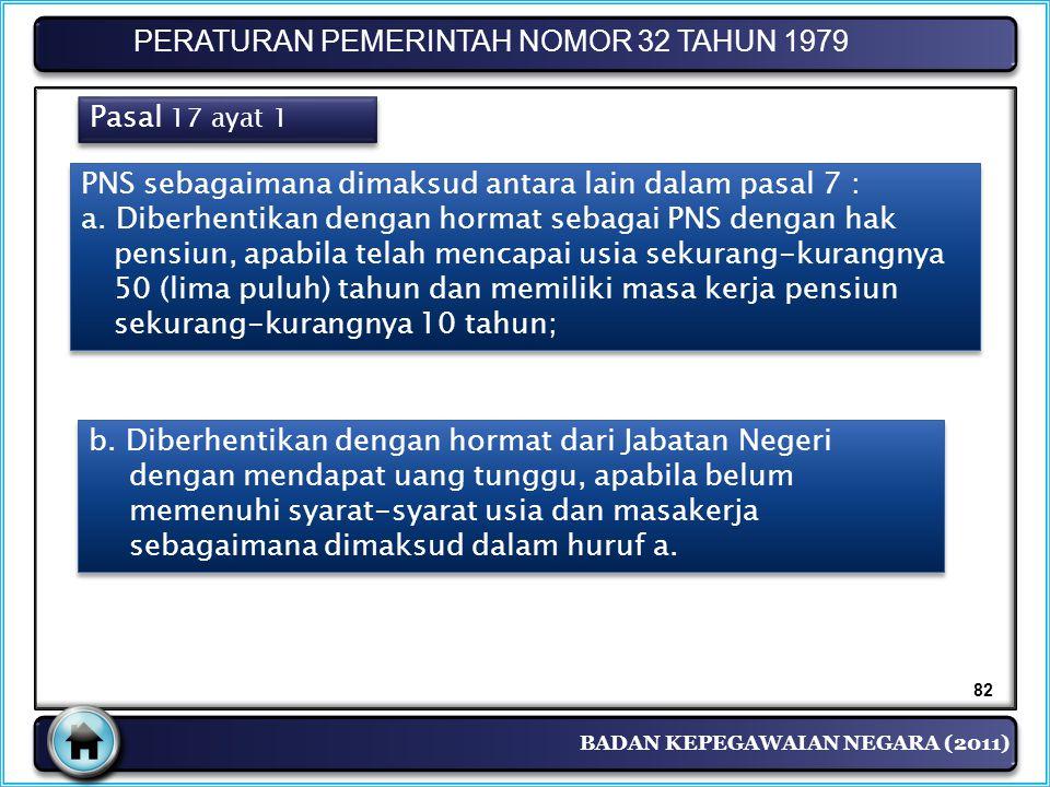 BADAN KEPEGAWAIAN NEGARA (2011) PERATURAN PEMERINTAH NOMOR 32 TAHUN 1979 Pasal 17 ayat 1 PNS sebagaimana dimaksud antara lain dalam pasal 7 : a. Diber