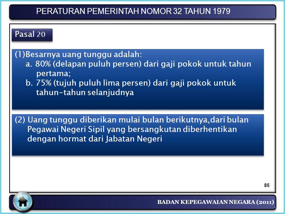 BADAN KEPEGAWAIAN NEGARA (2011) PERATURAN PEMERINTAH NOMOR 32 TAHUN 1979 Pasal 20 (1)Besarnya uang tunggu adalah: a. 80% (delapan puluh persen) dari g