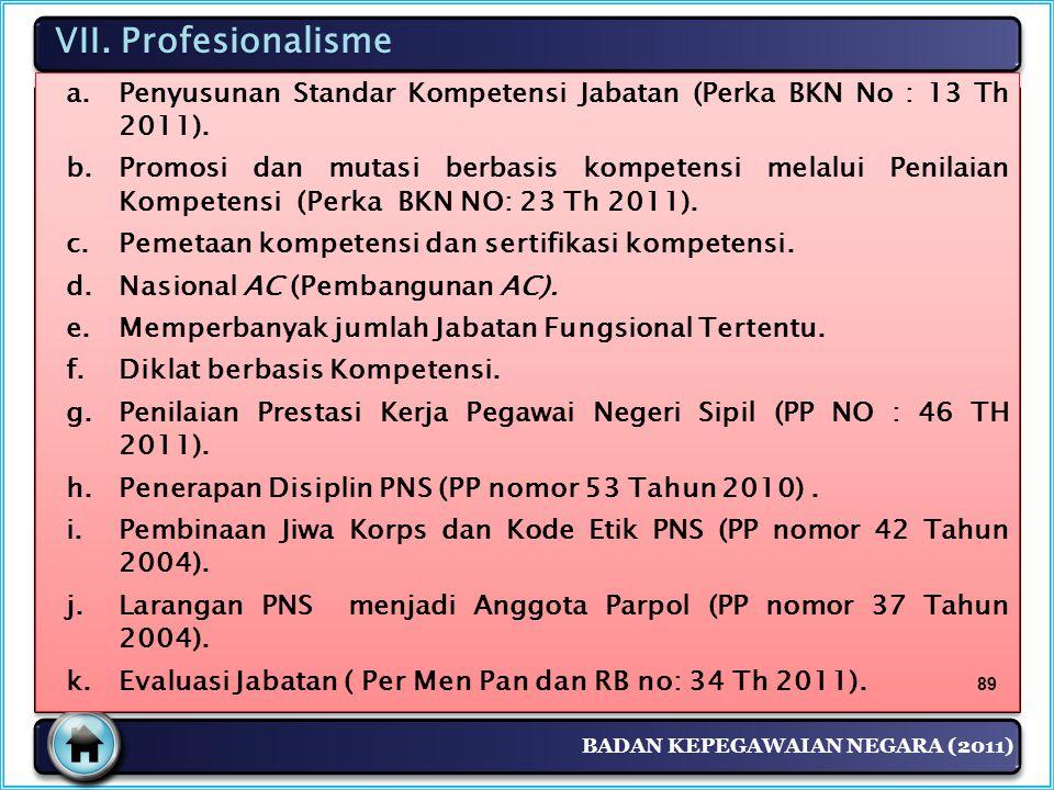 BADAN KEPEGAWAIAN NEGARA (2011) VII. Profesionalisme a.Penyusunan Standar Kompetensi Jabatan (Perka BKN No : 13 Th 2011). b.Promosi dan mutasi berbasi