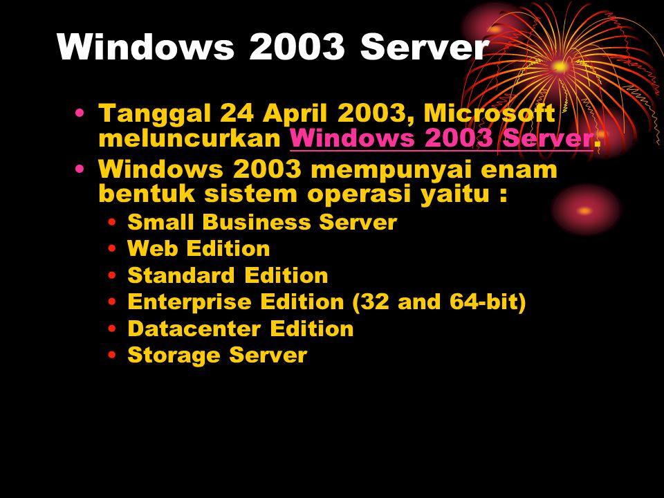 Windows 2003 Server •Tanggal 24 April 2003, Microsoft meluncurkan Windows 2003 Server.Windows 2003 Server •Windows 2003 mempunyai enam bentuk sistem o