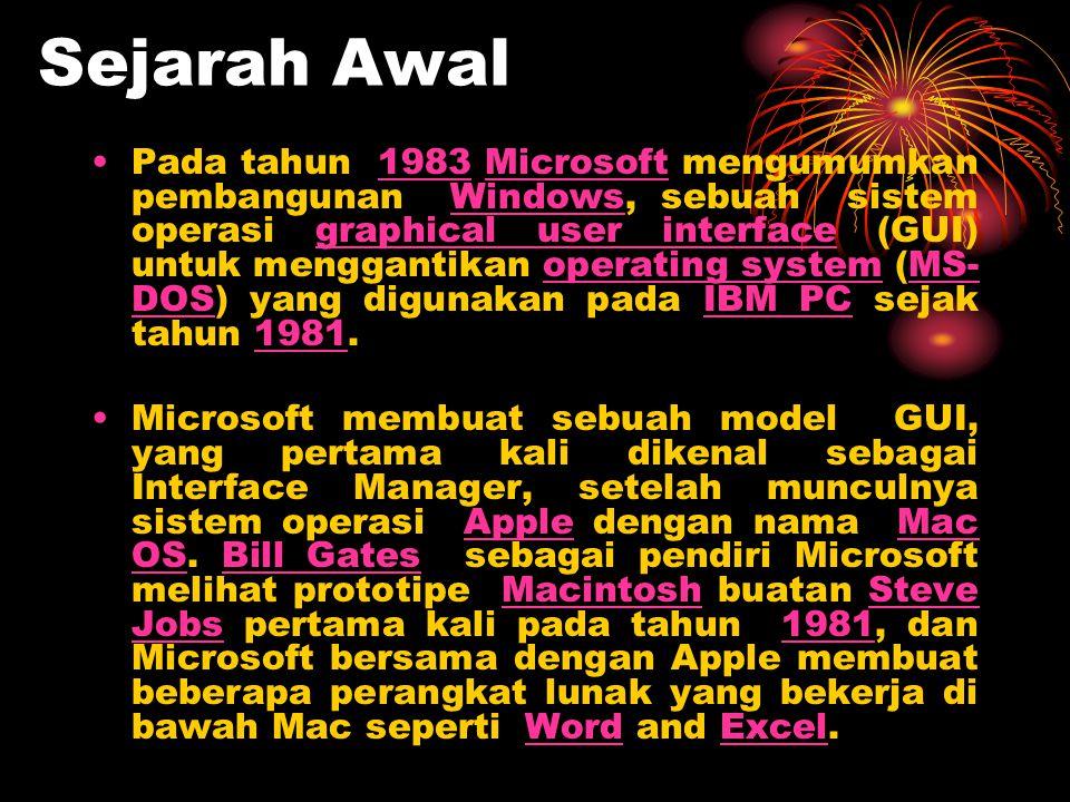 Sejarah Awal •Pada tahun 1983 Microsoft mengumumkan pembangunan Windows, sebuah sistem operasi graphical user interface (GUI) untuk menggantikan opera