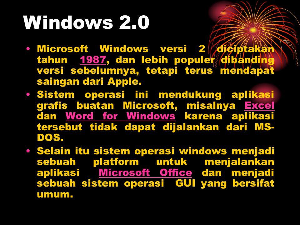 •Microsoft Windows versi 2 diciptakan tahun 1987, dan lebih populer dibanding versi sebelumnya, tetapi terus mendapat saingan dari Apple.1987 •Sistem