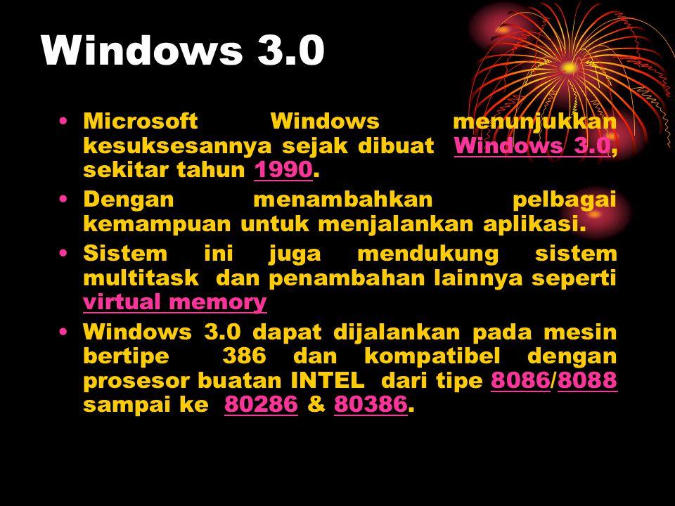 •Microsoft Windows menunjukkan kesuksesannya sejak dibuat Windows 3.0, sekitar tahun 1990.Windows 3.01990 •Dengan menambahkan pelbagai kemampuan untuk
