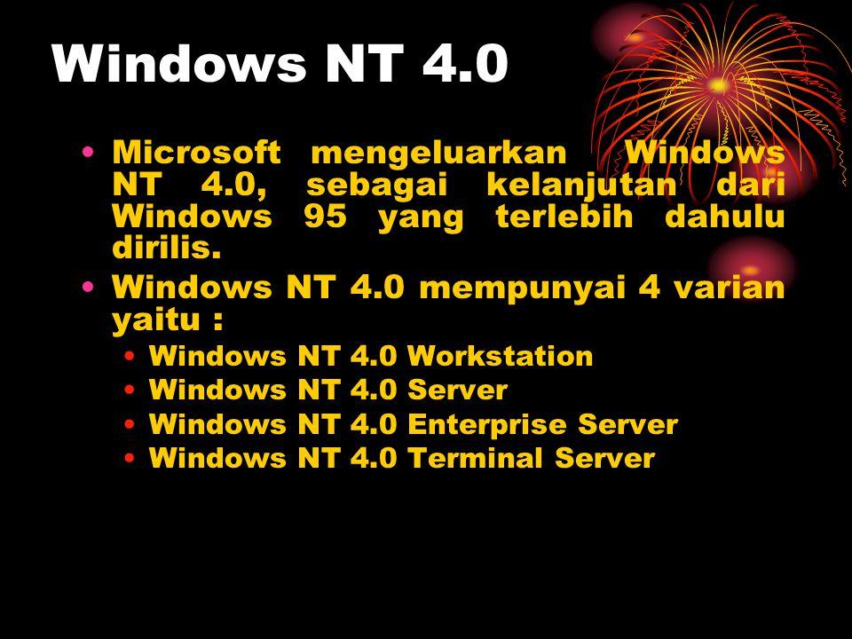 •Microsoft mengeluarkan Windows NT 4.0, sebagai kelanjutan dari Windows 95 yang terlebih dahulu dirilis. •Windows NT 4.0 mempunyai 4 varian yaitu : •W
