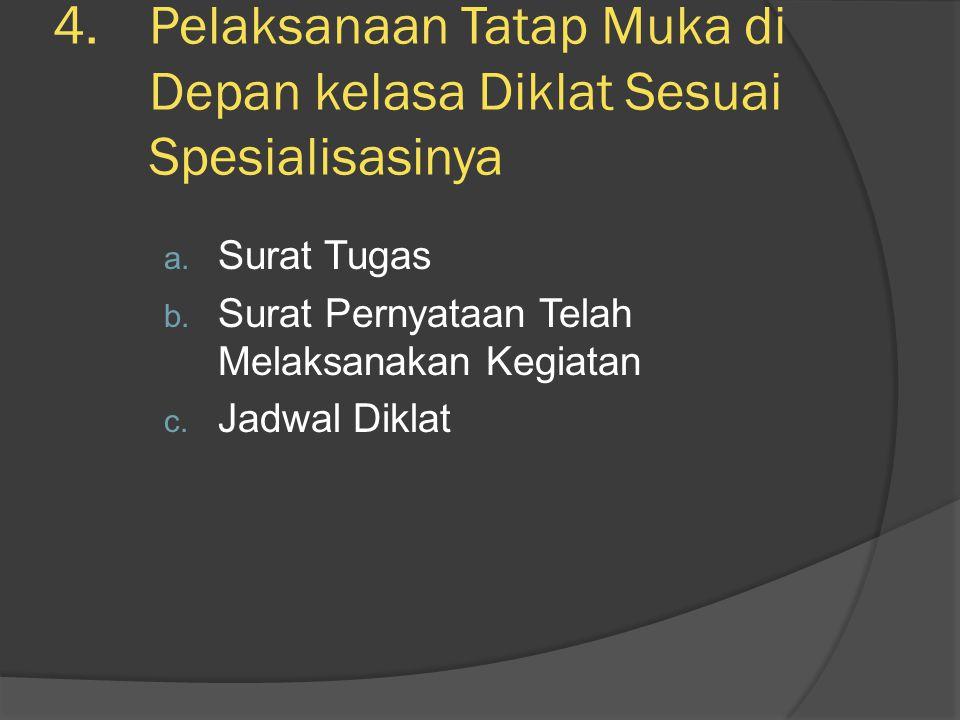 4.Pelaksanaan Tatap Muka di Depan kelasa Diklat Sesuai Spesialisasinya a. Surat Tugas b. Surat Pernyataan Telah Melaksanakan Kegiatan c. Jadwal Diklat