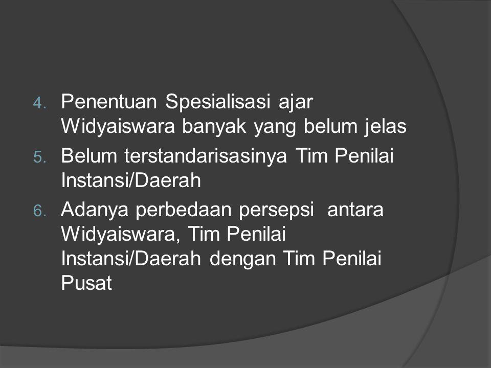 4. Penentuan Spesialisasi ajar Widyaiswara banyak yang belum jelas 5. Belum terstandarisasinya Tim Penilai Instansi/Daerah 6. Adanya perbedaan perseps