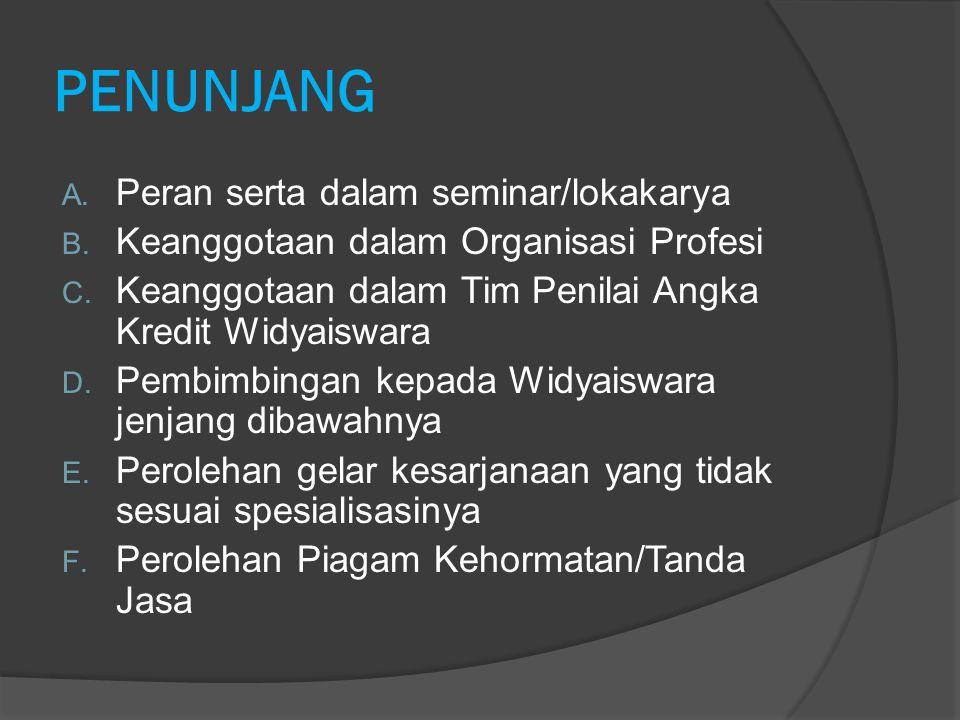 PENUNJANG A. Peran serta dalam seminar/lokakarya B. Keanggotaan dalam Organisasi Profesi C. Keanggotaan dalam Tim Penilai Angka Kredit Widyaiswara D.