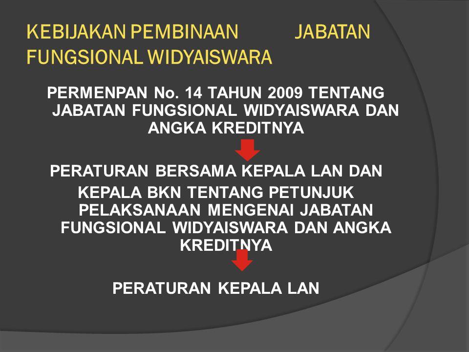 KEBIJAKAN PEMBINAAN JABATAN FUNGSIONAL WIDYAISWARA PERMENPAN No. 14 TAHUN 2009 TENTANG JABATAN FUNGSIONAL WIDYAISWARA DAN ANGKA KREDITNYA PERATURAN BE