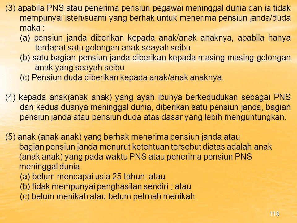 117 d) Mulai berlakunya pensiun PNS Pensiun mulai berlaku pada bulan berikutnya pegawai yang bersang kutan diberhentikan dengan hormat sebagi PNS.