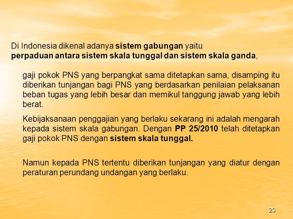 22 HAK HAK PNS Dalam Undang undang No.8 Thun 1974 jo Undang undang No.43 Tahun 1999 hak hak PNS telah diatur dalam pasal 7,8,9,10, adapun hak hak PNS tersebut adalah : a.Hak atas Gaji (pasal 7) Setiap Pegawai Negeri berhak memperoleh gaji yang adil dan layak sesuai dengan beban pekerjaan dan tanggung jawabnya.